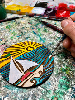 """Painting """"Sunny Sails"""" Magnets"""
