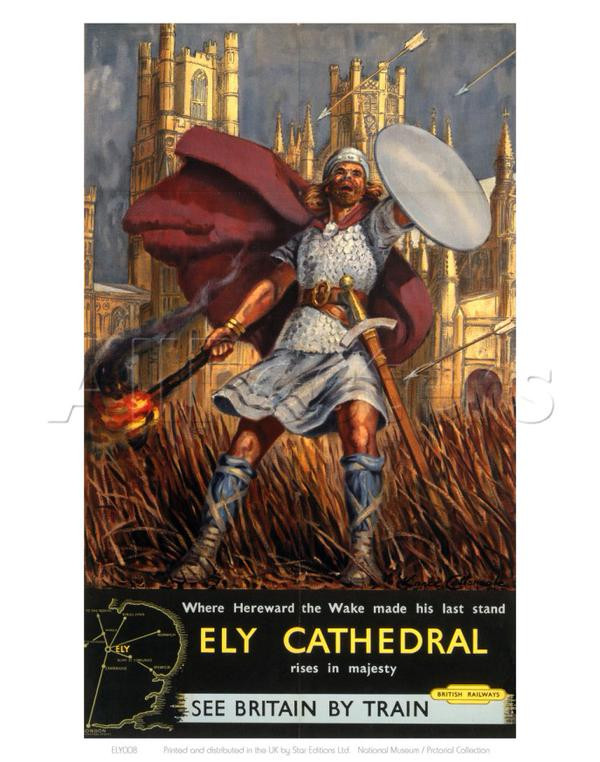 1950's British Rail poster depicting Hereward at Ely