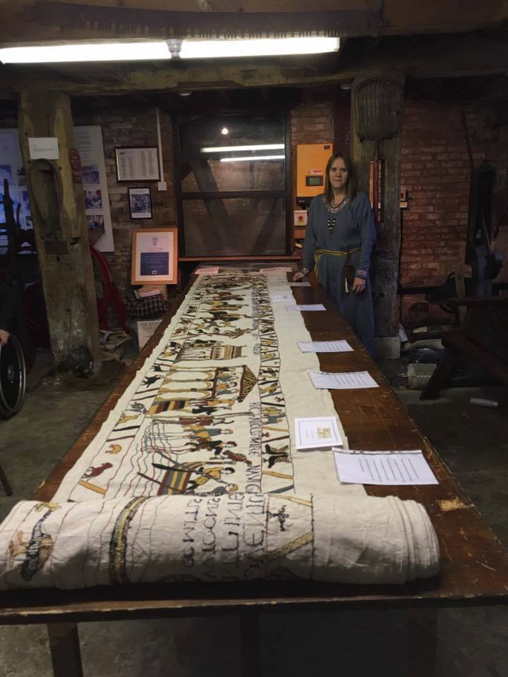 Mia Hansson at Baldock's Mill with her Bayeux Tapestry embroidery