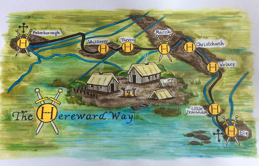 Map of the Fenlands section of the Hereward Way between Peterborough and March by Susan Moden.