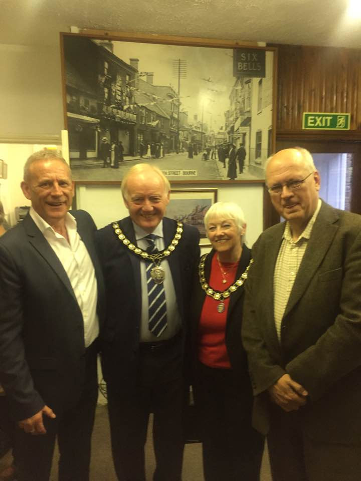 WakeHereward Project's David Maile and Michale Gilbert with the Mayor and Mayoress of Bourne
