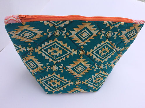 Aztec quilted zip pouch