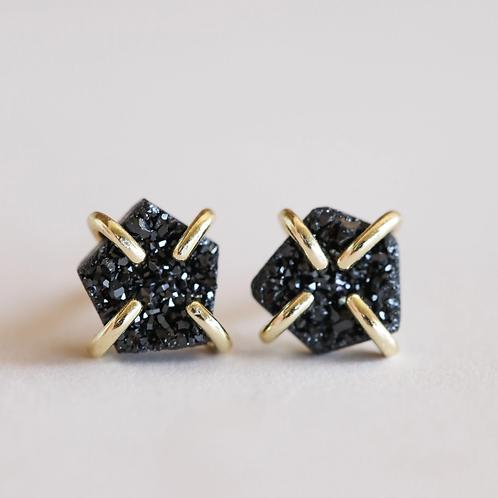 Black Druzy Prong Earrings