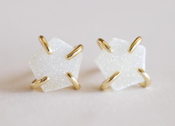 White Druzy Prong Earrings