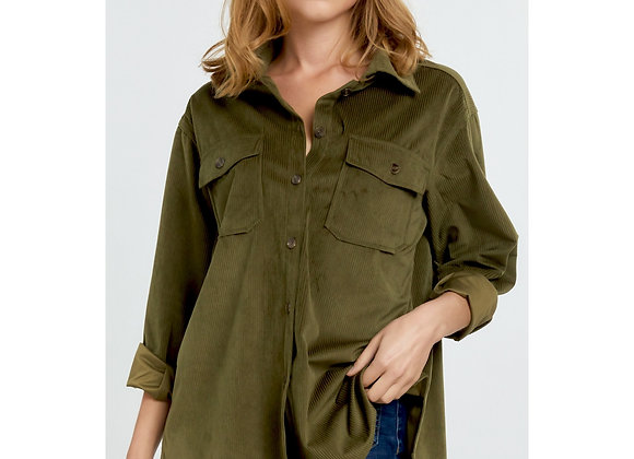 Corduroy Olive Button Down