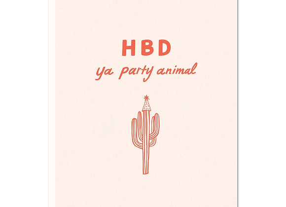 HBD party animal Greeting Card