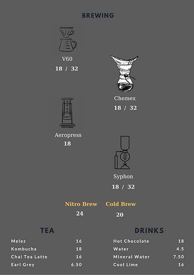 Meet Lab Coffee Menü