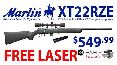 Marlin XT22RZE .22LR rifle with 4X32 scope & suppressor
