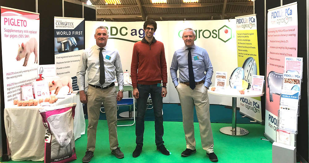 BDC agri's Steve Graffham and Greg Dunn with Benjamin Pollet of Dietaxion (centre)