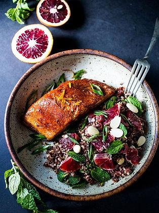 Gänsebrust auf Quinoa und Blutorangen