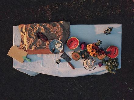 Letecký pohled na piknik tabulky