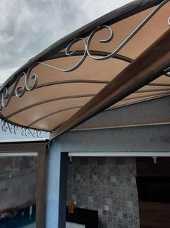 Toldos área de laser de canto com cortina, bronze HL