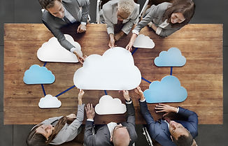 Business People Joining Cloud Teamwork C
