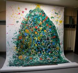 大きなペタペタクリスマスツリー