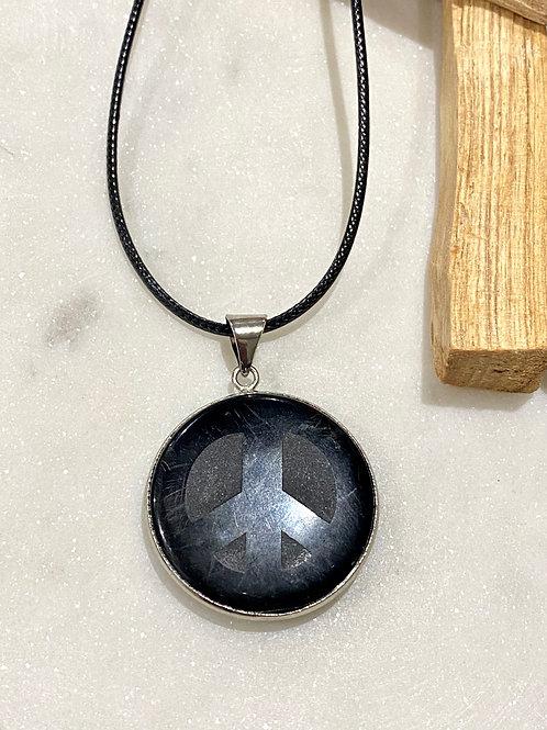 Men's obsidian Peace Necklace
