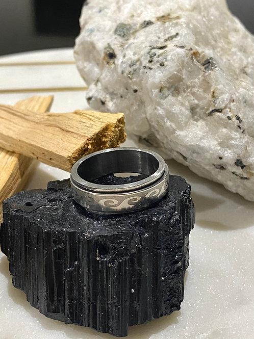 Men's Steel Wave Ring