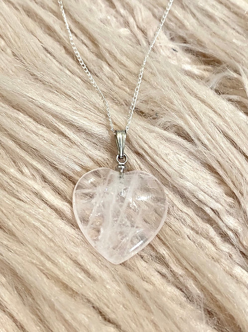 Love Heart Clear Quartz Sterling Silver Necklace
