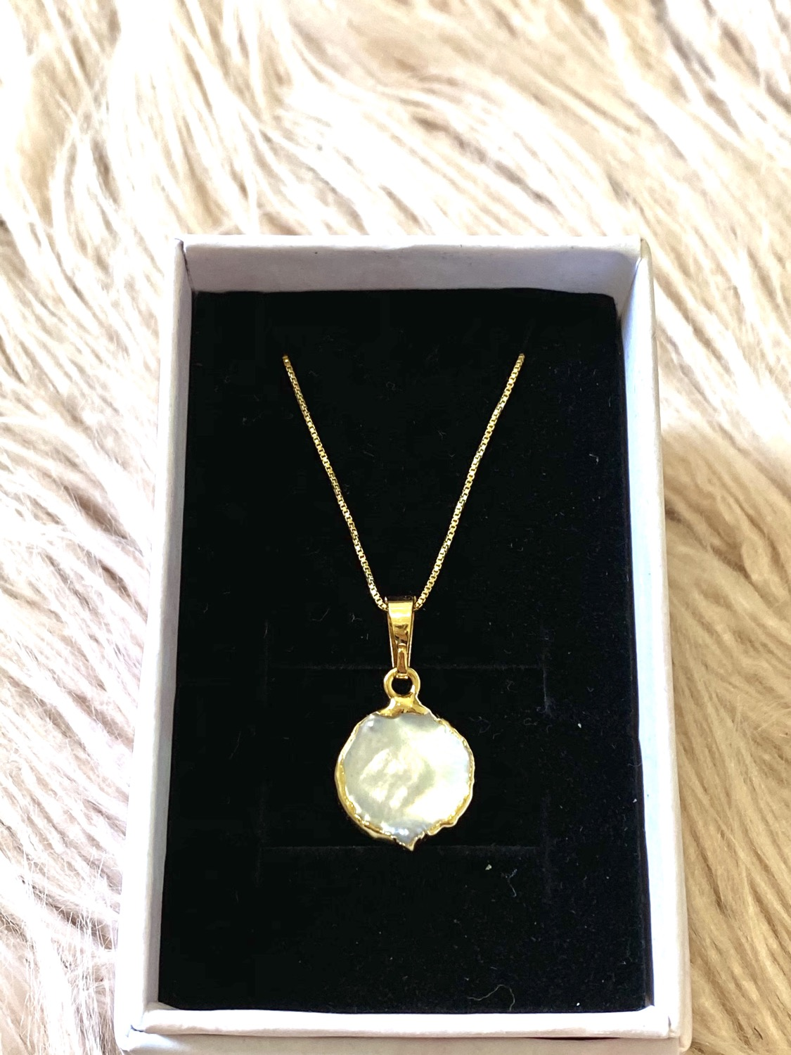 Thumbnail: Mother of Peal 14K Gold Plated Necklace