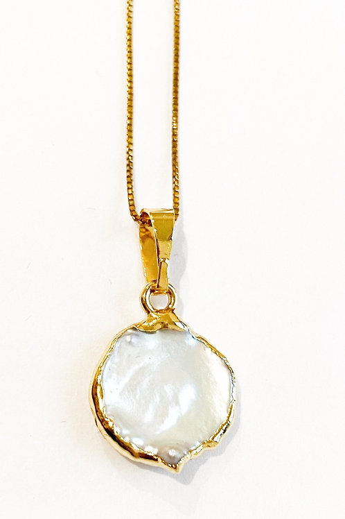 Mother of Peal 14K Gold Plated Necklace