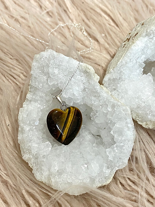 Heart Tiger Eye Pendant Sterling Silver Necklace