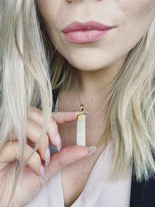 Selenite Gold Plated Necklace