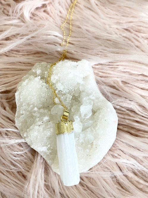 Selenite Sterling Silver Necklace