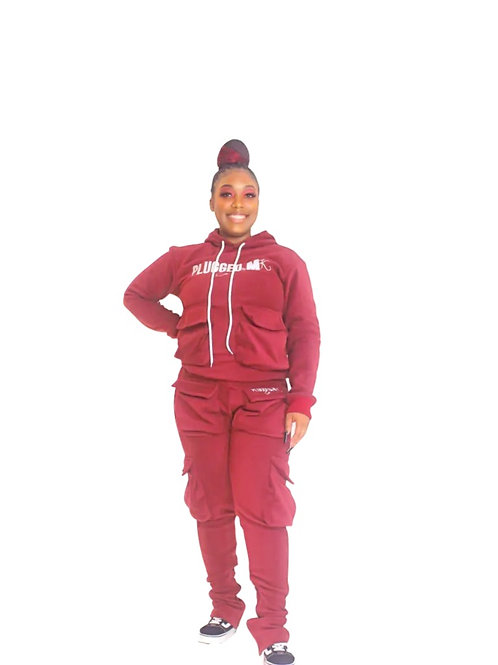 Burgundy Stacked Sweatsuits