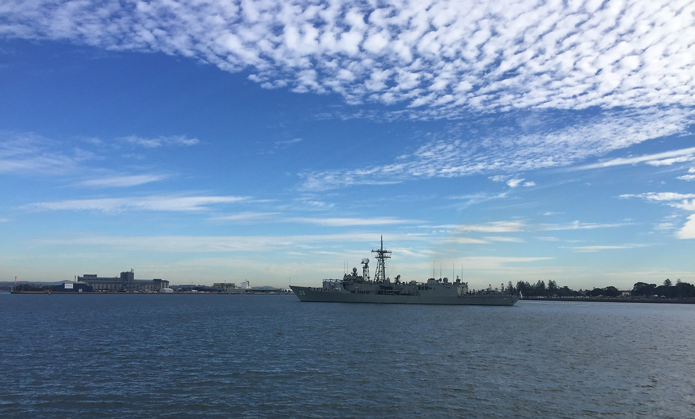 HMAS Newcastle enters Port Hunter for her final port of call to the city of Newcastle.