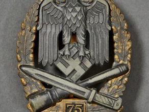 Rare WW2 German General Assault Badge 75 (A Type)