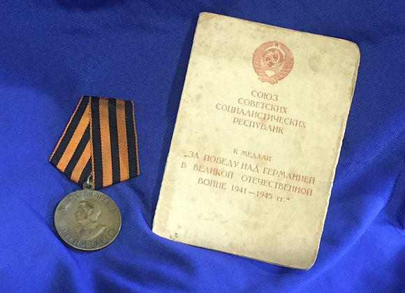 WW2 Soviet Medal - Victory Over Germany with original book of issue