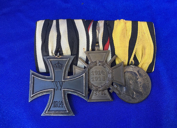 WW1 German Iron Cross 2nd Class Veteran Mounted Trio