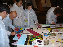 Great indoor team building for the USA by Sabre with painting events like Picture Perfect