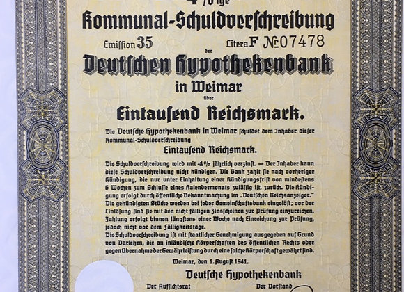 Third Reich era War Bond Certificate