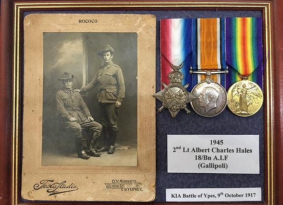 2nd LT Albert Charles Hales 1945 18 BN (Gallipoli Vet) KIA Ypres