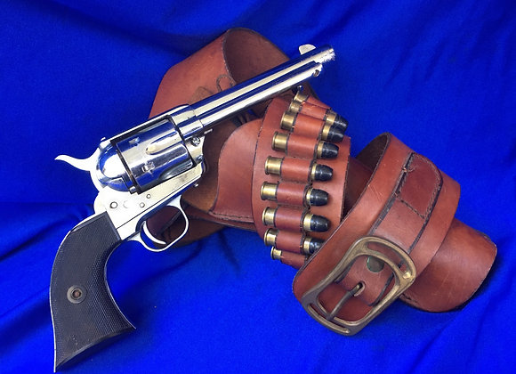 Vintage 1980's MGC Colt Army Chrome Replica with holster rig