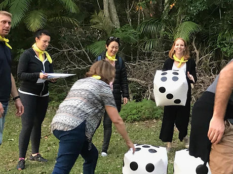team engaged in a Quest team building task