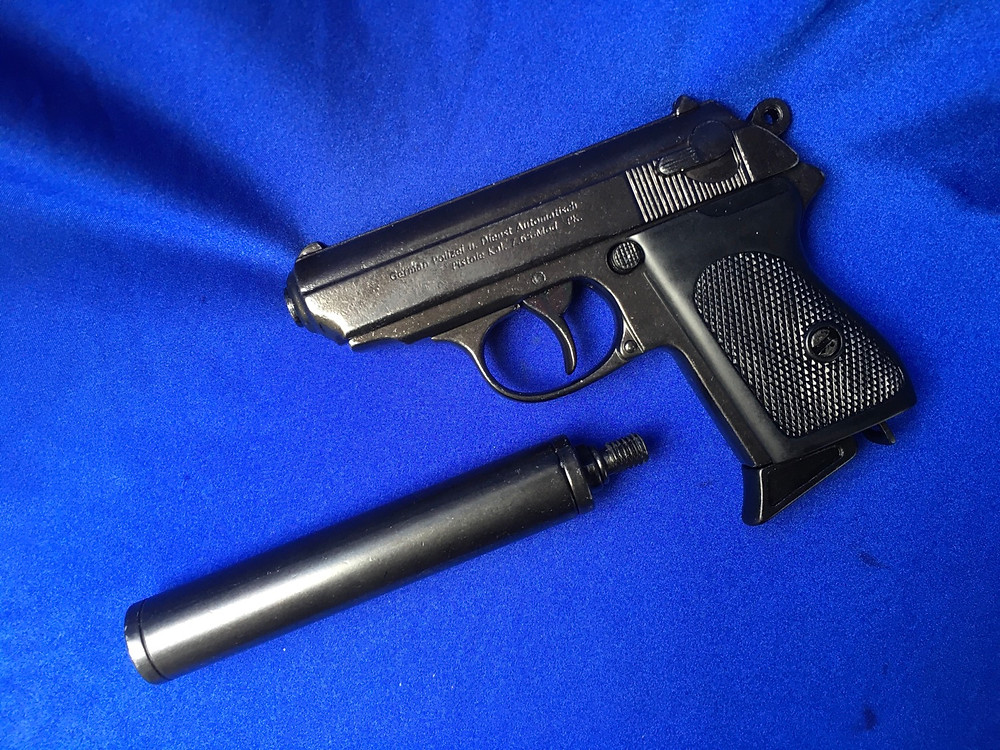 A quality Denix replica of a Walther PPK pistil with silencer