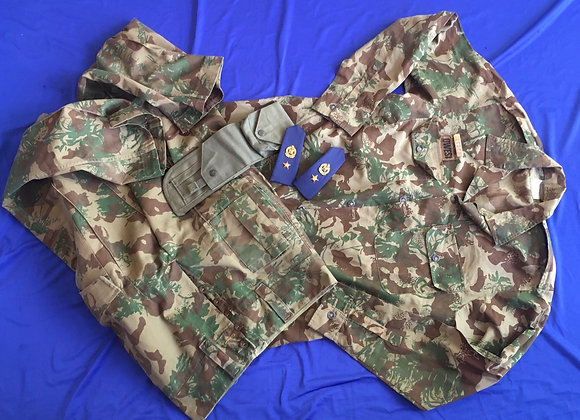 South African Police Cam uniform, rank boards and holster