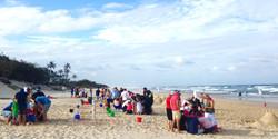 Team building on the beach