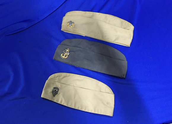 Three US Military side caps (USN and USMC)