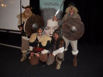 Some Sabre facilitators in full Viking War mode for the team building game Viking Saga
