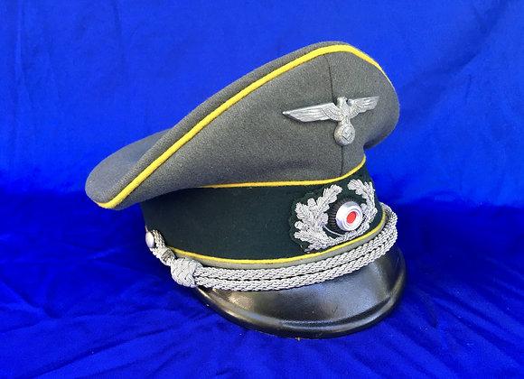 WW2 German Army Officers Peak Cap -Signals