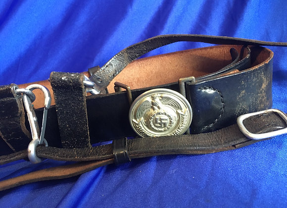 WW2 SS Officer belt with cross strap aged repro