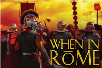 The logo for the Sabre team building game When in Rome