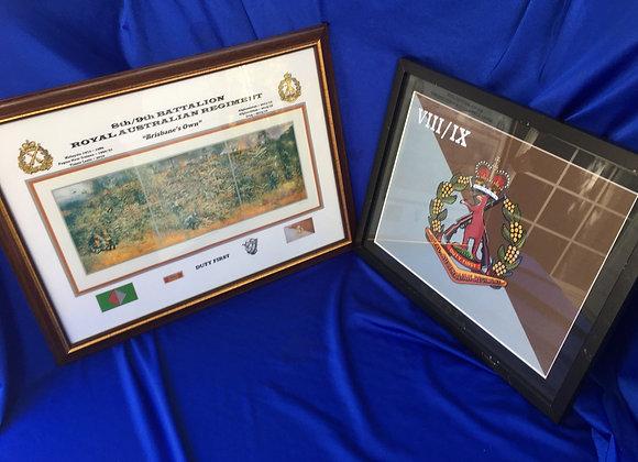 Two unit produced 8th / 9th Battalion RAR framed prints