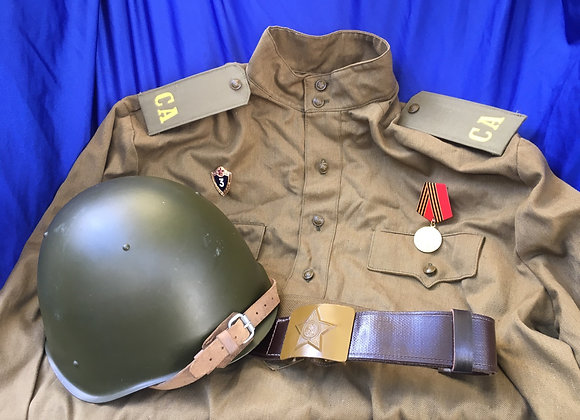 Soviet Cold War Uniform Items / Ssh-68 helmet, Gymnastyorka Tunic and Belt