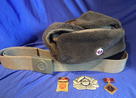 East German Army / NVA Ushanka, Belt, Cap Badge and Party Badges