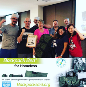 Teams can leave a lasting legacy from their team building event with the donation of Backpack Beds for homeless