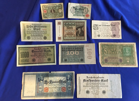 German 1910-1923 bank notes including hyperinflation  period (lot 2)