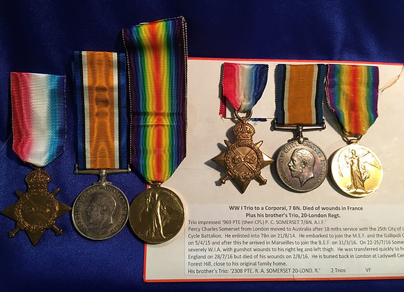 Trios of Two Brother's Cpl 7 Bn (DOW) and Pte 20 London Regt